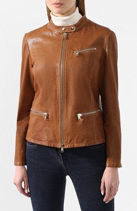 Женская кожаная куртка GIORGIO ARMANI коричневого цвета, арт. 5AB01P/5AP08 | Фото 3
