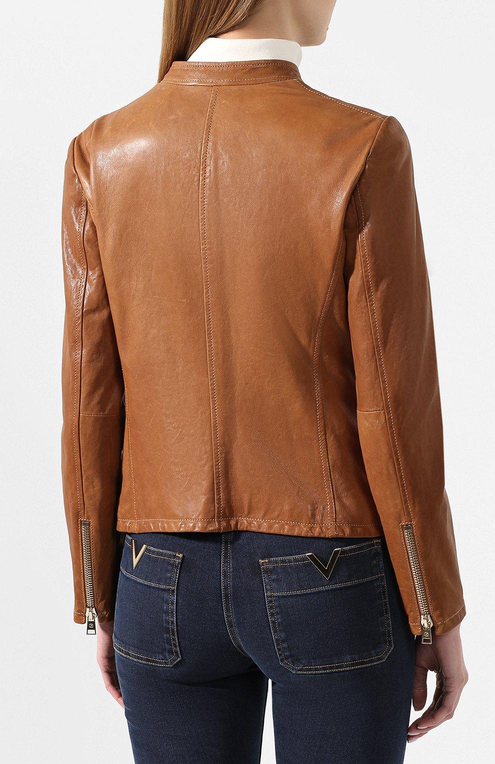 Женская кожаная куртка GIORGIO ARMANI коричневого цвета, арт. 5AB01P/5AP08 | Фото 4