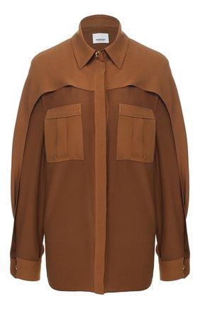Женская шелковая рубашка BURBERRY коричневого цвета, арт. 8024110 | Фото 1