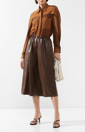 Женская шелковая рубашка BURBERRY коричневого цвета, арт. 8024110 | Фото 2