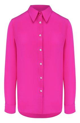 Женская шелковая рубашка ADAM LIPPES фуксия цвета, арт. R20124CR | Фото 1 (Рукава: Длинные; Материал внешний: Шелк; Длина (для топов): Удлиненные; Статус проверки: Проверена категория; Принт: Без принта; Женское Кросс-КТ: Рубашка-одежда)