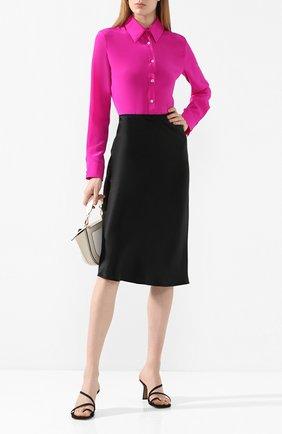 Женская шелковая рубашка ADAM LIPPES фуксия цвета, арт. R20124CR | Фото 2 (Рукава: Длинные; Материал внешний: Шелк; Длина (для топов): Удлиненные; Статус проверки: Проверена категория; Принт: Без принта; Женское Кросс-КТ: Рубашка-одежда)