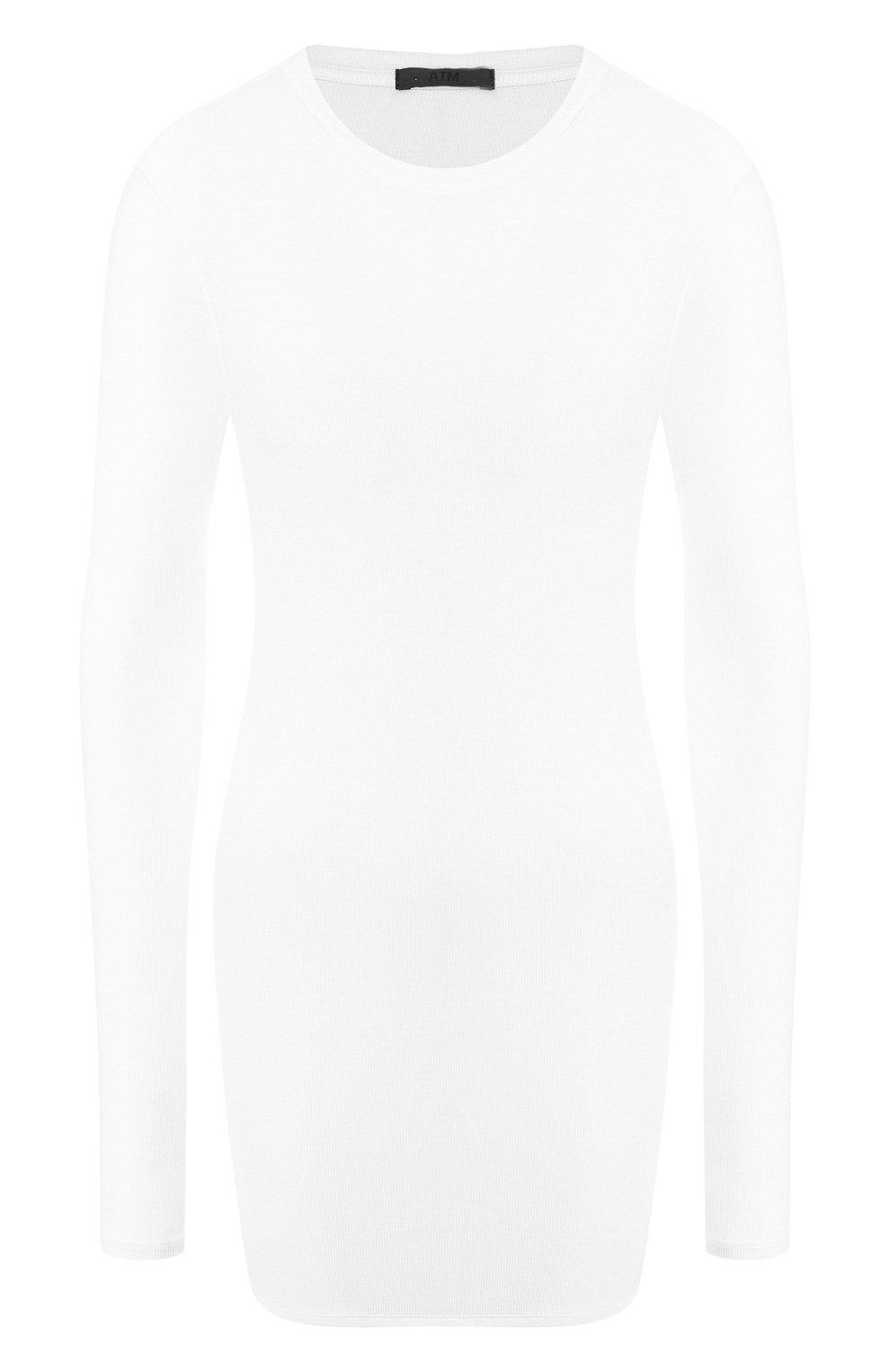 Женская лонгслив ATM ANTHONY THOMAS MELILLO белого цвета, арт. AW1051-EC | Фото 1 (Рукава: Длинные; Принт: Без принта; Длина (для топов): Стандартные; Стили: Минимализм, Кэжуэл)