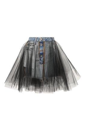 Женская джинсовая юбка BEN TAVERNITI UNRAVEL PROJECT голубого цвета, арт. UWYF015R20DEN0024510   Фото 1