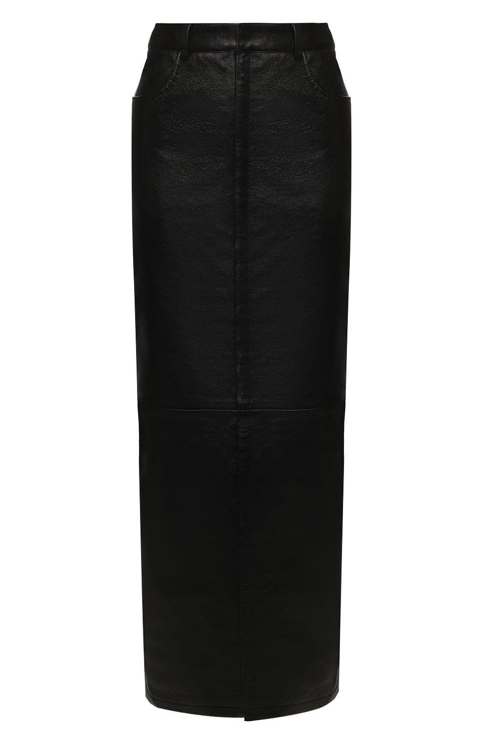 Женская кожаная юбка SAINT LAURENT черного цвета, арт. 601814/YC2UE | Фото 1