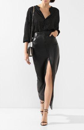 Женская кожаная юбка SAINT LAURENT черного цвета, арт. 601814/YC2UE | Фото 2