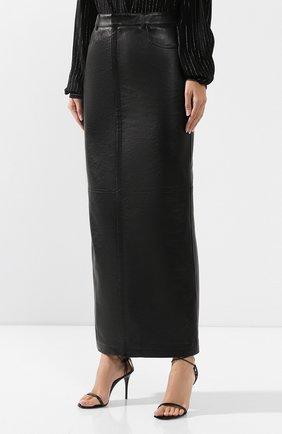 Женская кожаная юбка SAINT LAURENT черного цвета, арт. 601814/YC2UE | Фото 3