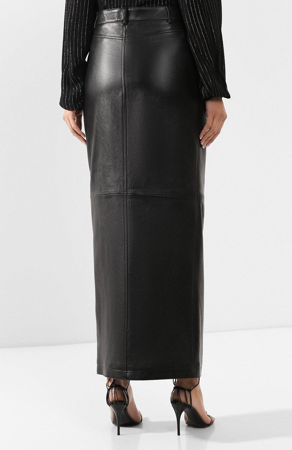 Женская кожаная юбка SAINT LAURENT черного цвета, арт. 601814/YC2UE | Фото 4