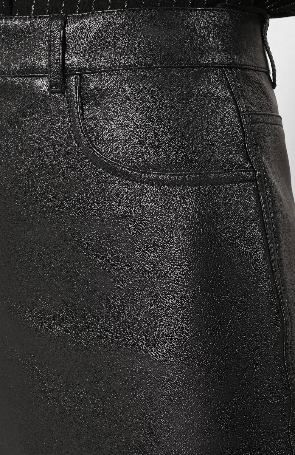 Женская кожаная юбка SAINT LAURENT черного цвета, арт. 601814/YC2UE | Фото 5