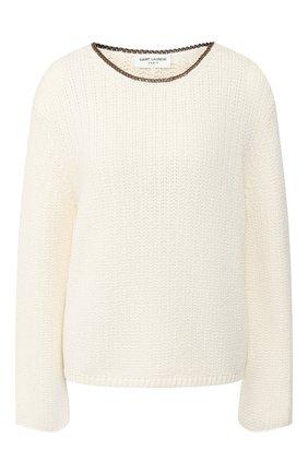 Женский свитер из смеси вискозы и шерсти SAINT LAURENT белого цвета, арт. 605867/YAJT2 | Фото 1