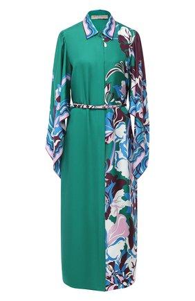 Женское шелковое платье EMILIO PUCCI зеленого цвета, арт. 0ERH85/0E880 | Фото 1