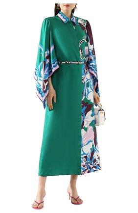 Женское шелковое платье EMILIO PUCCI зеленого цвета, арт. 0ERH85/0E880 | Фото 2