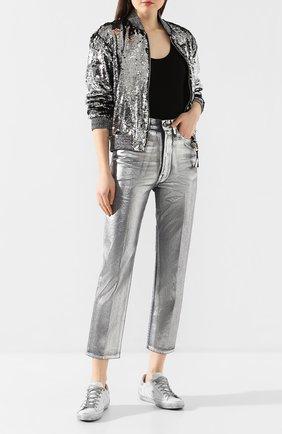 Женские джинсы GOLDEN GOOSE DELUXE BRAND серебряного цвета, арт. G36WP015.A1 | Фото 2