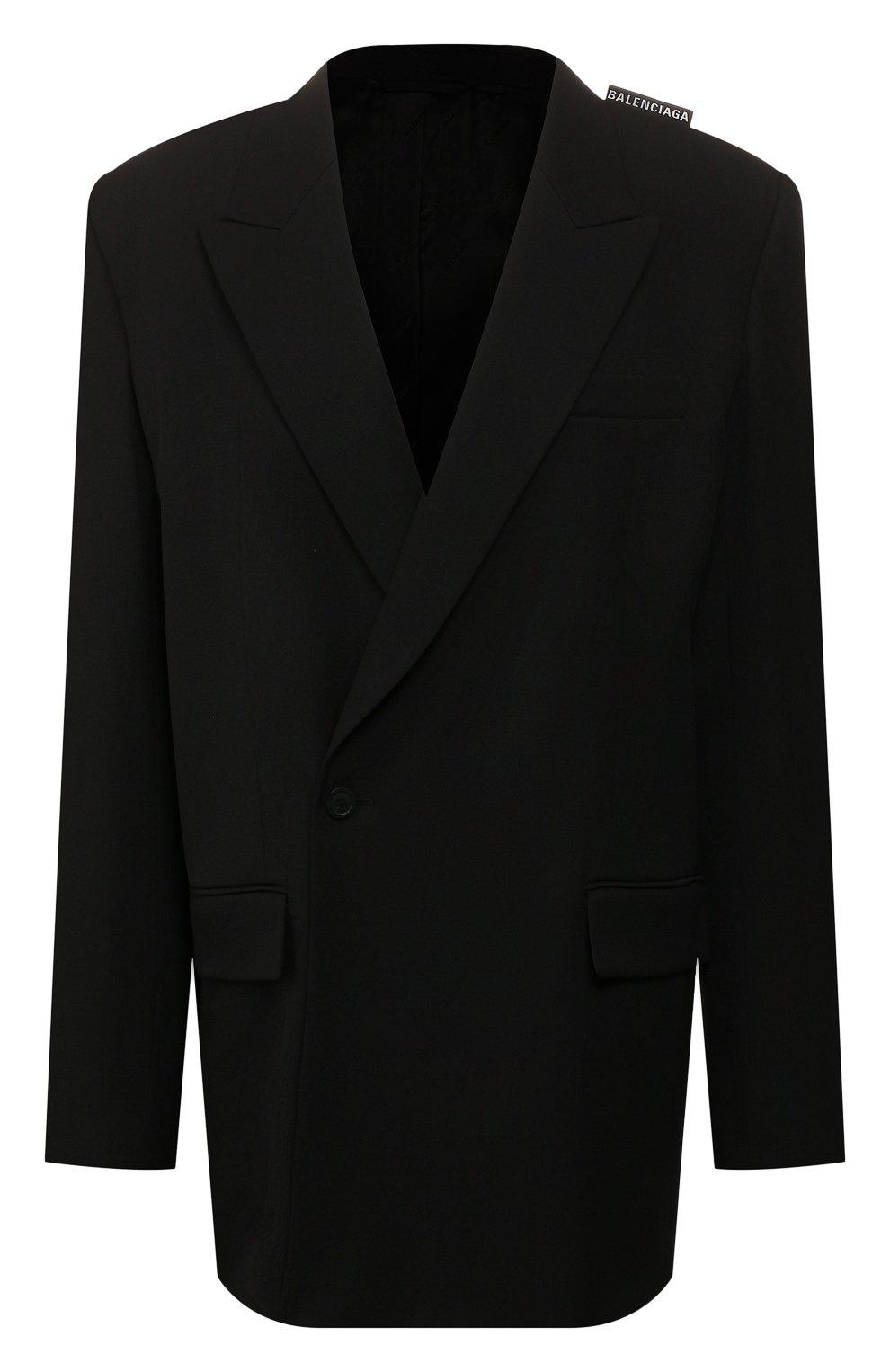 Женский шерстяной жакет BALENCIAGA черного цвета, арт. 602185/TGT09   Фото 1