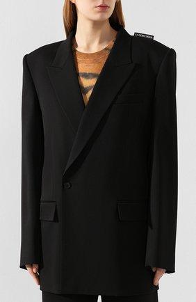 Женский шерстяной жакет BALENCIAGA черного цвета, арт. 602185/TGT09   Фото 3