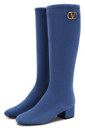 Женские замшевые сапоги valentino garavani vlogo VALENTINO голубого цвета, арт. TW2S0V35/VUR | Фото 1