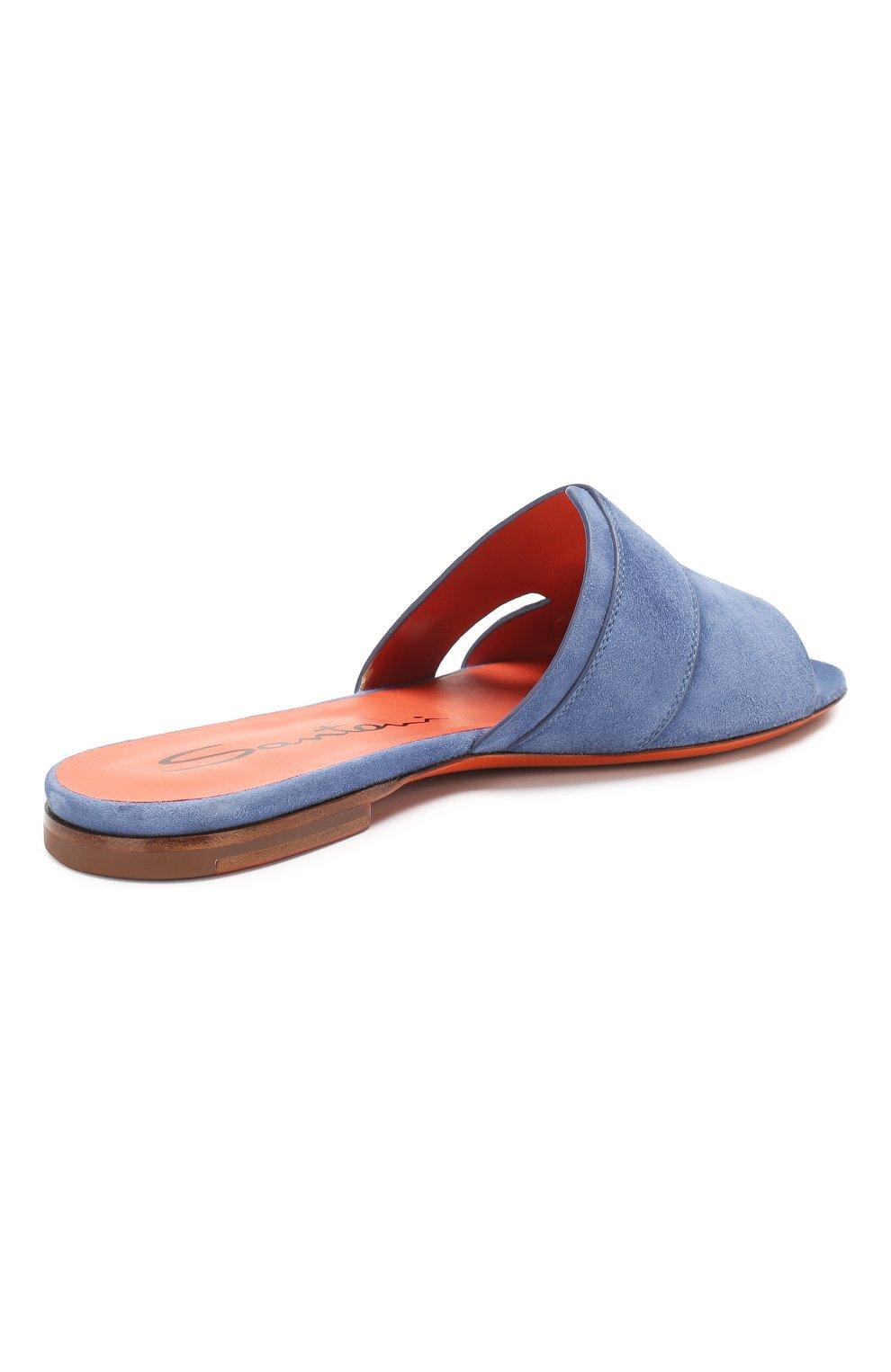 Женские замшевые шлепанцы SANTONI синего цвета, арт. WHBF57658HI1RMGDU30 | Фото 4