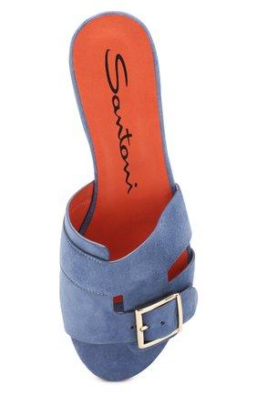 Женские замшевые шлепанцы SANTONI синего цвета, арт. WHBF57658HI1RMGDU30 | Фото 5