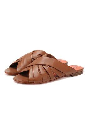Женские кожаные шлепанцы SANTONI коричневого цвета, арт. WHBF58523HI1SUNPC80 | Фото 1
