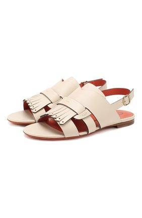 Женские кожаные сандалии SANTONI белого цвета, арт. WHBF58524HI1CGLYE21 | Фото 1