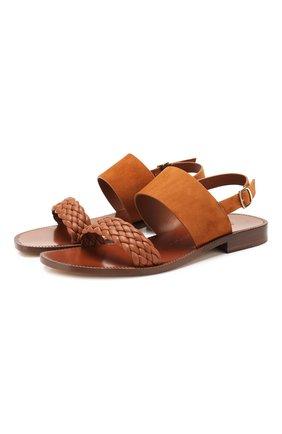 Женские замшевые сандалии SANTONI коричневого цвета, арт. WHYP58726HI1TRTCC90 | Фото 1