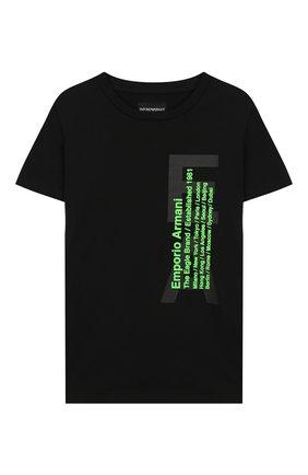Детская хлопковая футболка EMPORIO ARMANI черного цвета, арт. 3H4T92/1J0AZ | Фото 1