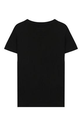 Детская хлопковая футболка EMPORIO ARMANI черного цвета, арт. 3H4T92/1J0AZ | Фото 2