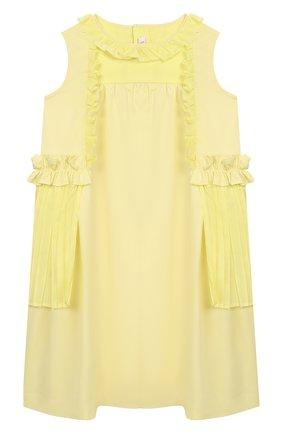 Детское хлопковое платье IL GUFO желтого цвета, арт. P20VA256C0046/2A-4A | Фото 1 (Материал внешний: Хлопок; Рукава: Без рукавов, Короткие; Случай: Повседневный; Ростовка одежда: 2 года | 92 см, 3 года | 98 см)