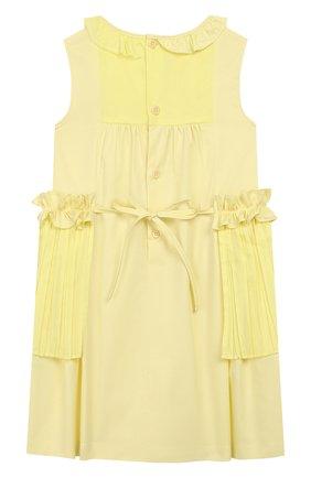 Детское хлопковое платье IL GUFO желтого цвета, арт. P20VA256C0046/2A-4A | Фото 2 (Материал внешний: Хлопок; Рукава: Без рукавов, Короткие; Случай: Повседневный; Ростовка одежда: 2 года | 92 см, 3 года | 98 см)