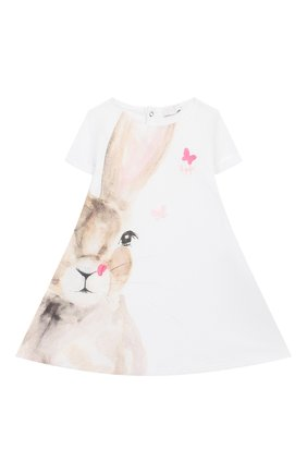 Женский хлопковое платье IL GUFO белого цвета, арт. P20VM561M0014/12M-18M | Фото 1