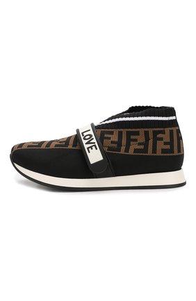 Детские текстильные кроссовки FENDI черного цвета, арт. JMR320/AAE1/27-31 | Фото 2