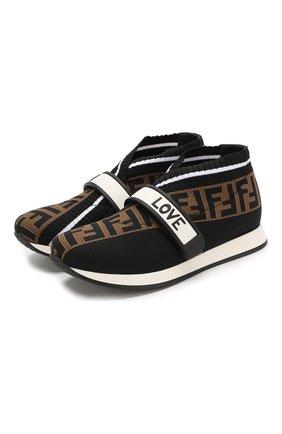 Детские текстильные кроссовки FENDI черного цвета, арт. JMR320/AAE1/32-39 | Фото 1