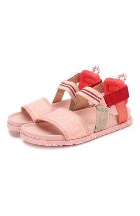 Детские текстильные босоножки FENDI розового цвета, арт. JMR315/AAE6/32-39 | Фото 1