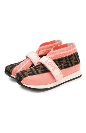 Детские текстильные кроссовки FENDI розового цвета, арт. JMR320/AAE1/32-39 | Фото 1