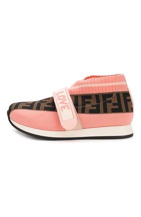 Детские текстильные кроссовки FENDI розового цвета, арт. JMR320/AAE1/32-39 | Фото 2
