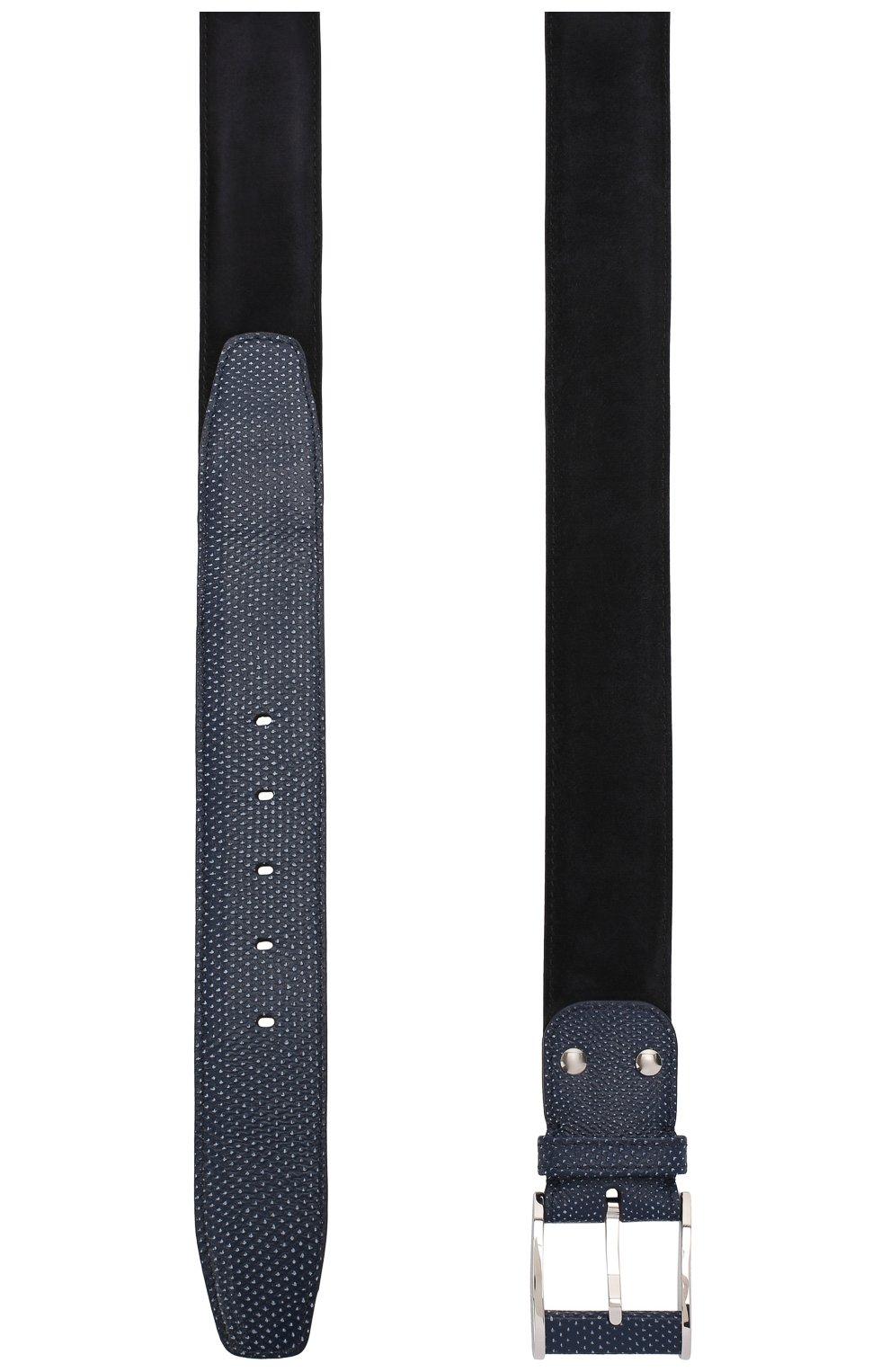 Мужской кожаный ремень ZILLI темно-синего цвета, арт. MJL-VICIE-A0066/0236 | Фото 2