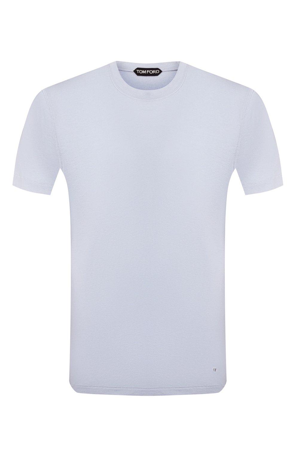 Мужская футболка TOM FORD голубого цвета, арт. BU229/TFJ950 | Фото 1 (Принт: Без принта; Рукава: Короткие; Длина (для топов): Стандартные; Мужское Кросс-КТ: Футболка-одежда; Материал внешний: Хлопок, Лиоцелл; Стили: Кэжуэл)
