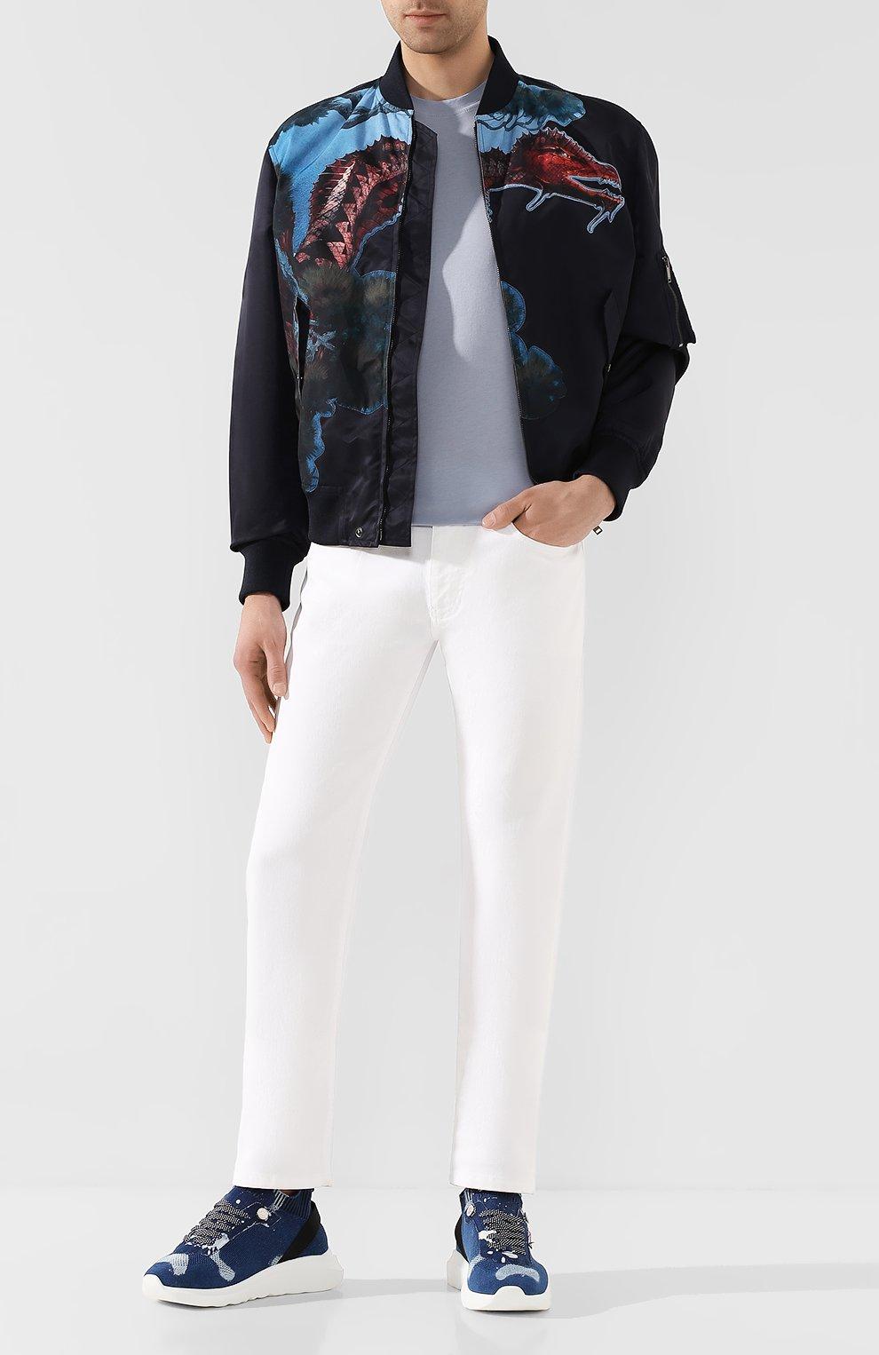 Мужская футболка TOM FORD голубого цвета, арт. BU229/TFJ950 | Фото 2 (Принт: Без принта; Рукава: Короткие; Длина (для топов): Стандартные; Мужское Кросс-КТ: Футболка-одежда; Материал внешний: Хлопок, Лиоцелл; Стили: Кэжуэл)