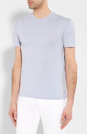 Мужская футболка TOM FORD голубого цвета, арт. BU229/TFJ950 | Фото 3 (Принт: Без принта; Рукава: Короткие; Длина (для топов): Стандартные; Мужское Кросс-КТ: Футболка-одежда; Материал внешний: Хлопок, Лиоцелл; Стили: Кэжуэл)