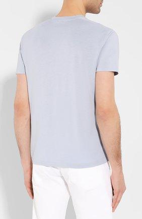 Мужская футболка TOM FORD голубого цвета, арт. BU229/TFJ950 | Фото 4 (Принт: Без принта; Рукава: Короткие; Длина (для топов): Стандартные; Мужское Кросс-КТ: Футболка-одежда; Материал внешний: Хлопок, Лиоцелл; Стили: Кэжуэл)