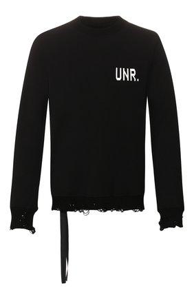 Мужской хлопковый свитер BEN TAVERNITI UNRAVEL PROJECT черного цвета, арт. UMBA026S20FLE0031001 | Фото 1