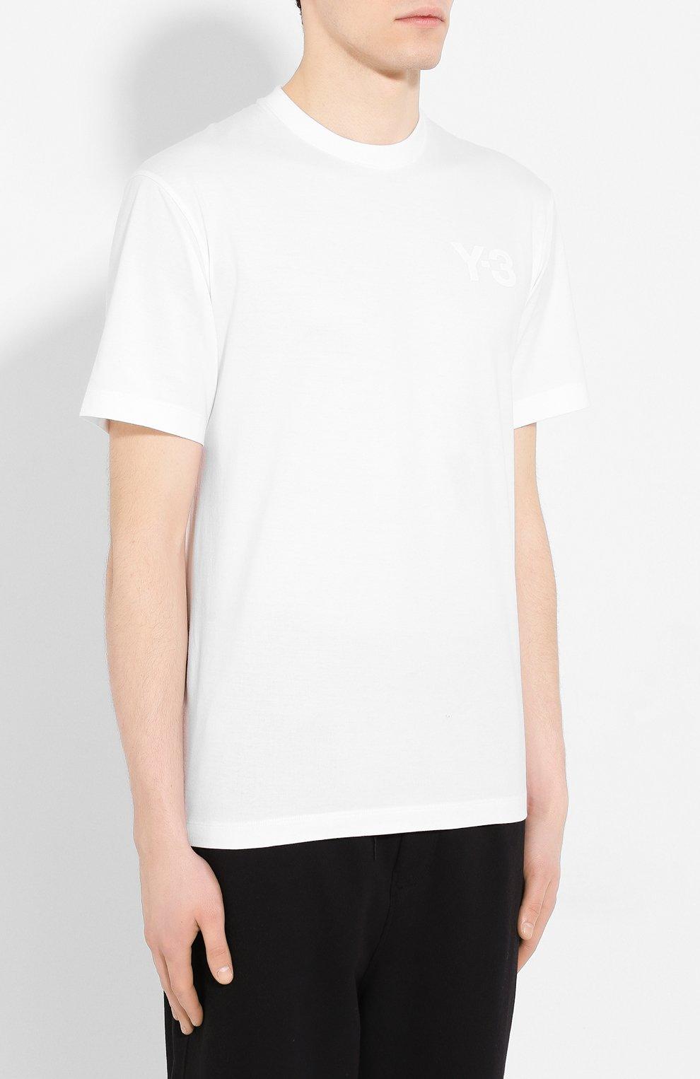 Мужская хлопковая футболка Y-3 белого цвета, арт. FN3359/M   Фото 3