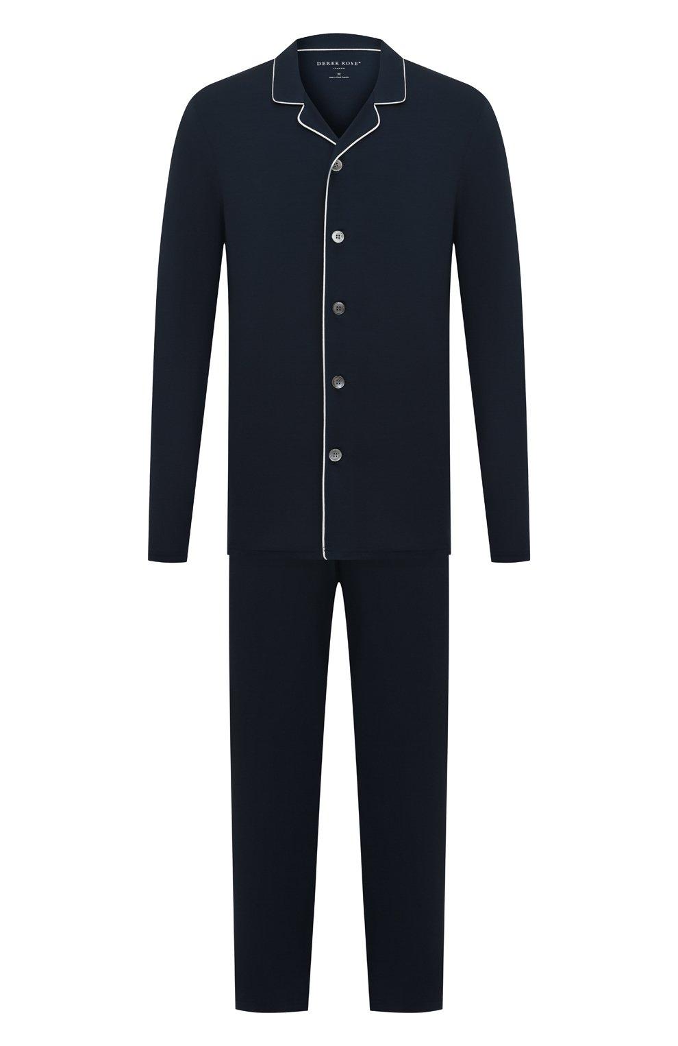 Мужская пижама DEREK ROSE темно-синего цвета, арт. 4070-BASE001   Фото 1 (Рукава: Длинные; Кросс-КТ: домашняя одежда; Материал внешний: Синтетический материал; Длина (для топов): Стандартные)
