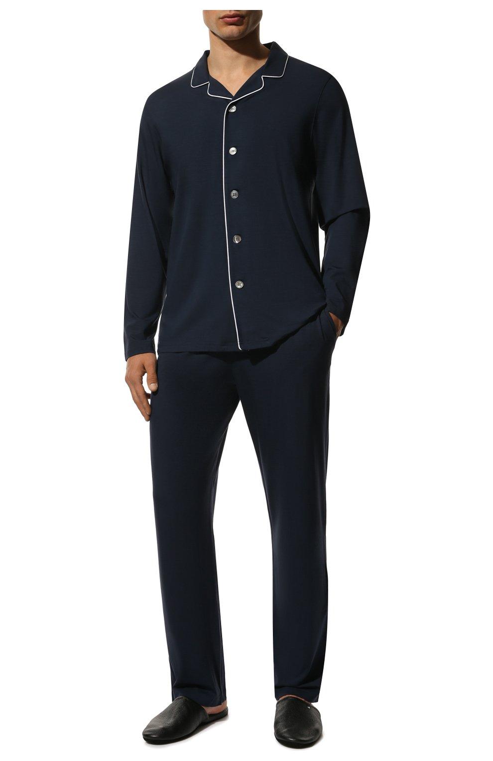 Мужская пижама DEREK ROSE темно-синего цвета, арт. 4070-BASE001   Фото 2 (Рукава: Длинные; Кросс-КТ: домашняя одежда; Материал внешний: Синтетический материал; Длина (для топов): Стандартные)