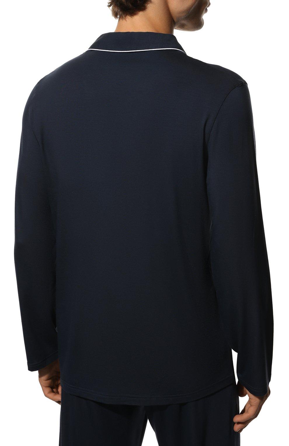 Мужская пижама DEREK ROSE темно-синего цвета, арт. 4070-BASE001   Фото 4 (Рукава: Длинные; Кросс-КТ: домашняя одежда; Материал внешний: Синтетический материал; Длина (для топов): Стандартные)