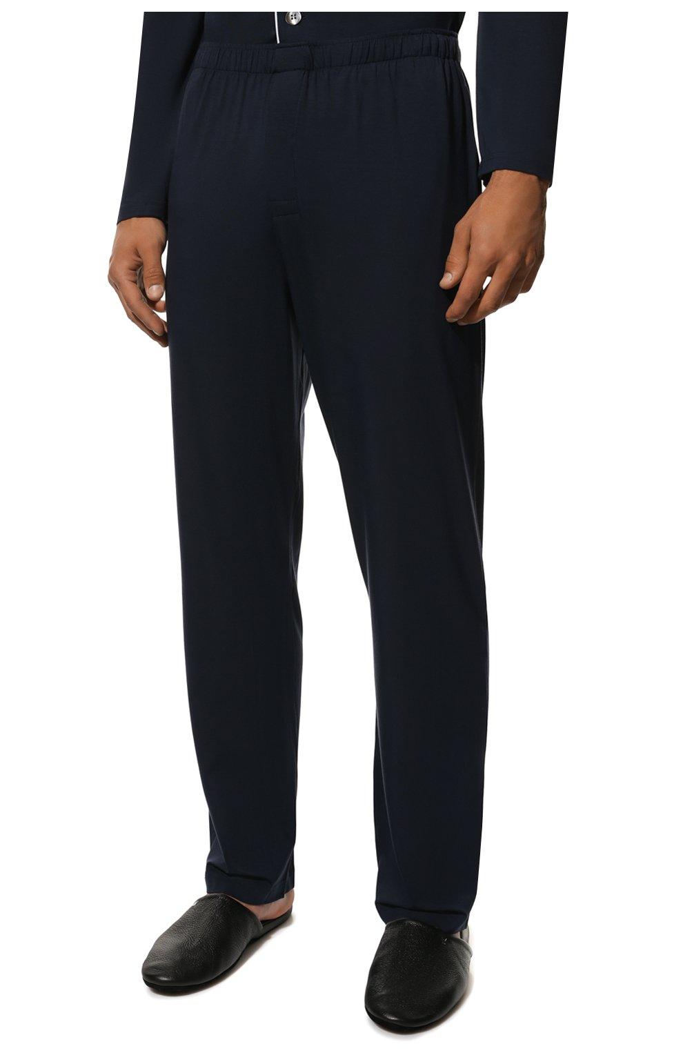 Мужская пижама DEREK ROSE темно-синего цвета, арт. 4070-BASE001   Фото 5 (Рукава: Длинные; Кросс-КТ: домашняя одежда; Материал внешний: Синтетический материал; Длина (для топов): Стандартные)