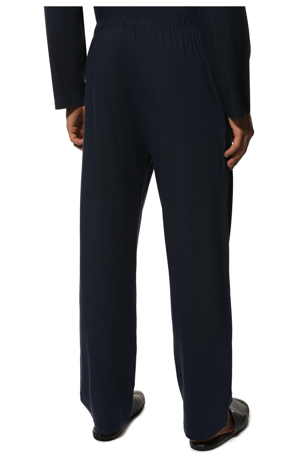 Мужская пижама DEREK ROSE темно-синего цвета, арт. 4070-BASE001   Фото 6 (Рукава: Длинные; Кросс-КТ: домашняя одежда; Материал внешний: Синтетический материал; Длина (для топов): Стандартные)