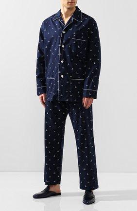 Мужская хлопковая пижама DEREK ROSE темно-синего цвета, арт. 5005-NELS073 | Фото 1