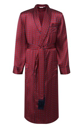 Мужской шелковый халат DEREK ROSE красного цвета, арт. 5535-BRIN052 | Фото 1