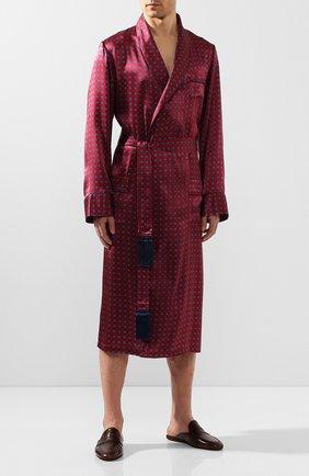 Мужской шелковый халат DEREK ROSE красного цвета, арт. 5535-BRIN052 | Фото 2